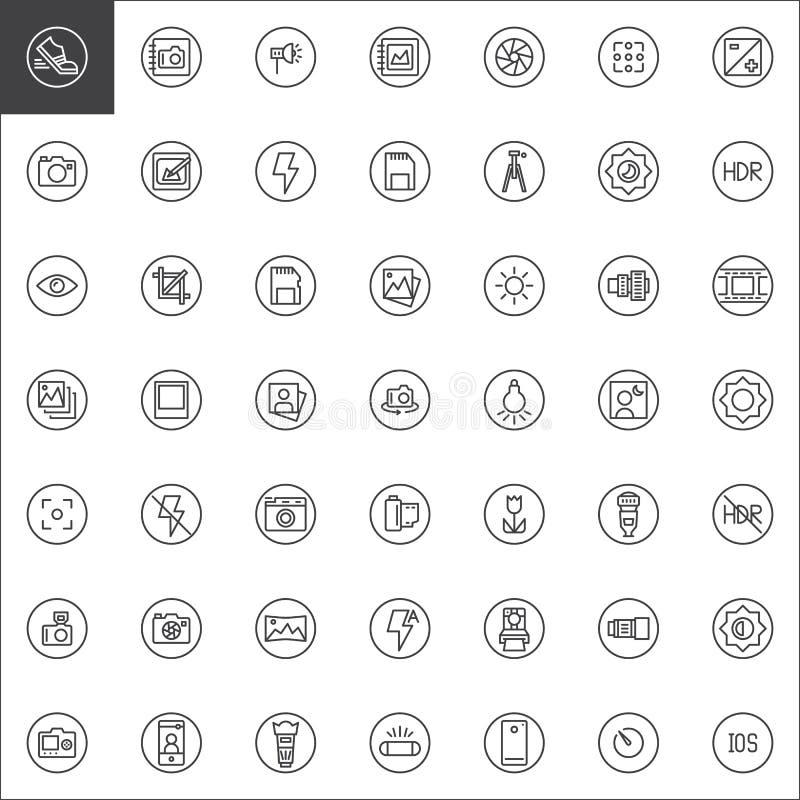 Línea universal iconos de los elementos de la fotografía fijados stock de ilustración