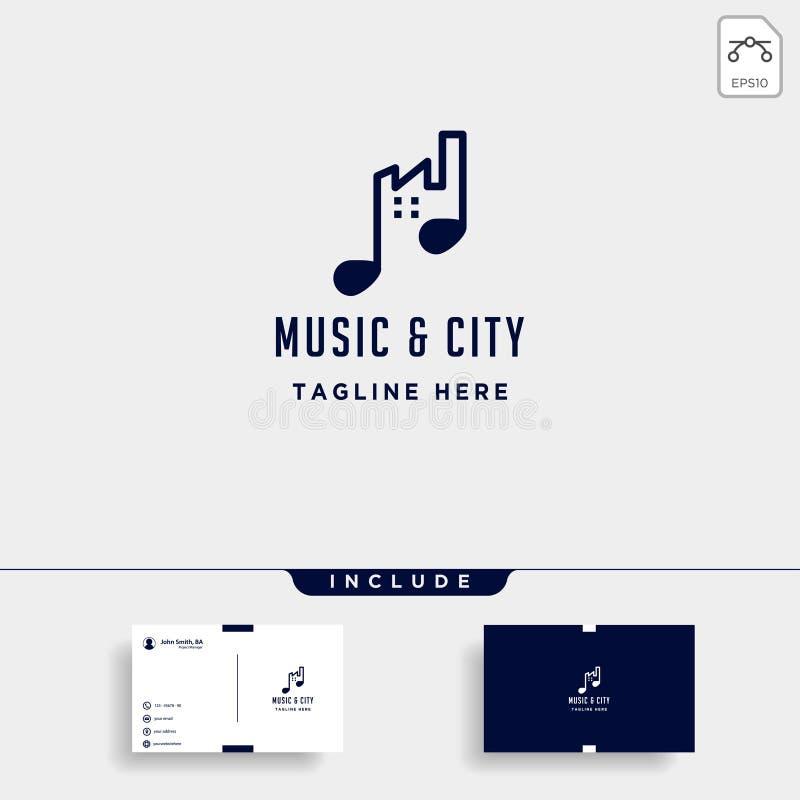 línea urbana icono simple del vector del diseño del logotipo de la ciudad de la música ilustración del vector