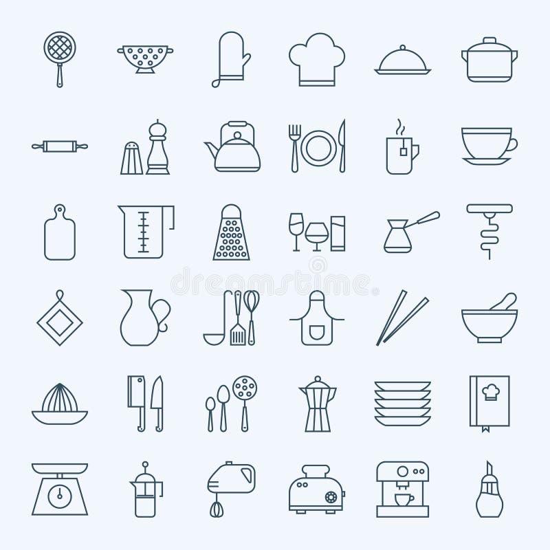 Línea utensilios de cocinar e iconos del artículos de cocina fijados stock de ilustración