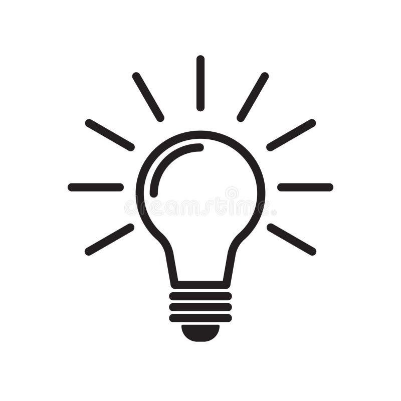 Línea vector de la bombilla del icono, aislado en el fondo blanco Icono de la idea, muestra de la idea, solución, concepto de pen ilustración del vector