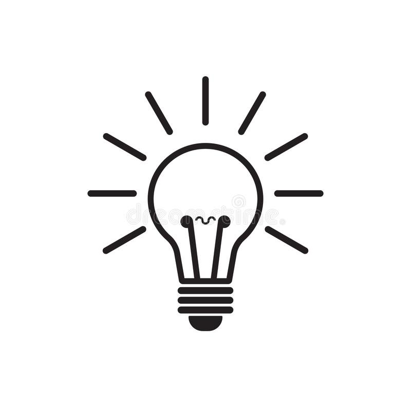 Línea vector de la bombilla del icono, aislado en el fondo blanco Icono de la idea, muestra de la idea, solución, concepto de pen libre illustration