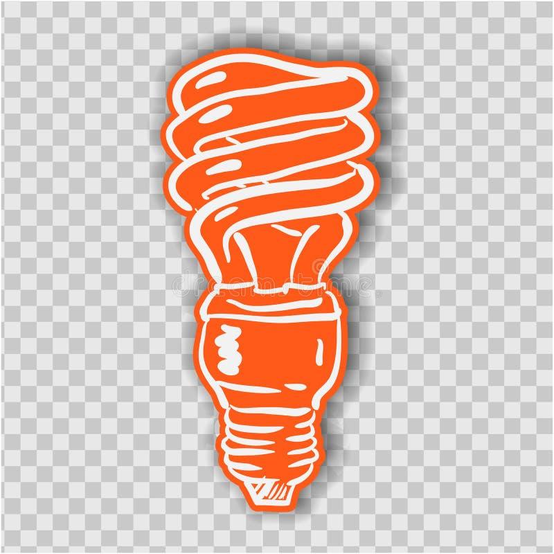 Línea vector de la bombilla del icono, aislado en el fondo blanco Muestra de la idea, solución, concepto de pensamiento Iluminaci ilustración del vector