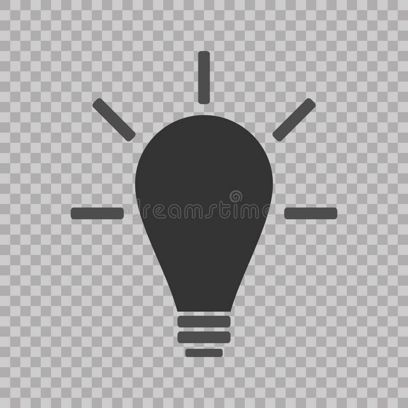 Línea vector de la bombilla del icono, aislado en fondo transparente Muestra de la idea, solución, concepto de pensamiento Ilumin ilustración del vector