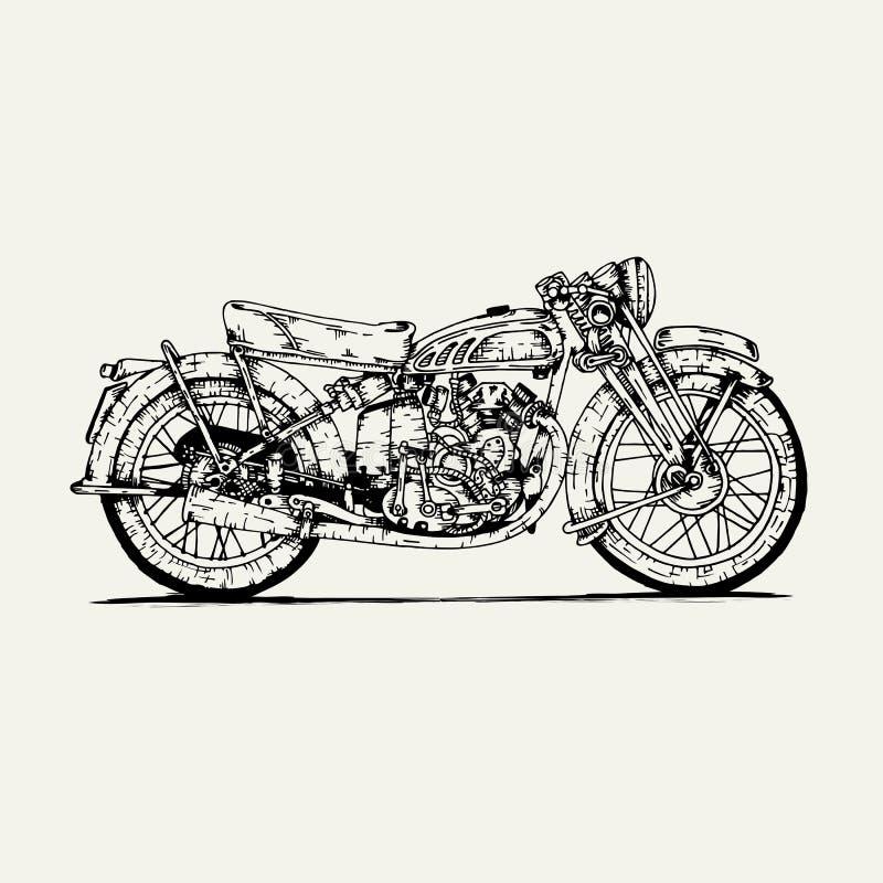 Línea vector de la motocicleta del vintage del dibujo del arte stock de ilustración