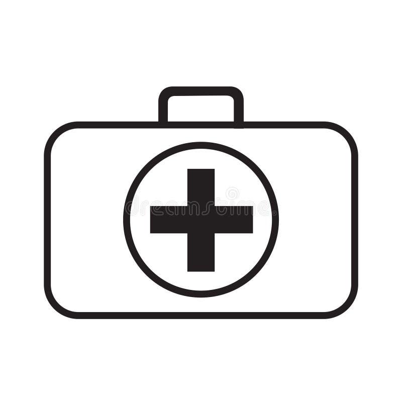 L?nea vector del icono del equipo de primeros auxilios aislado en blanco ilustración del vector