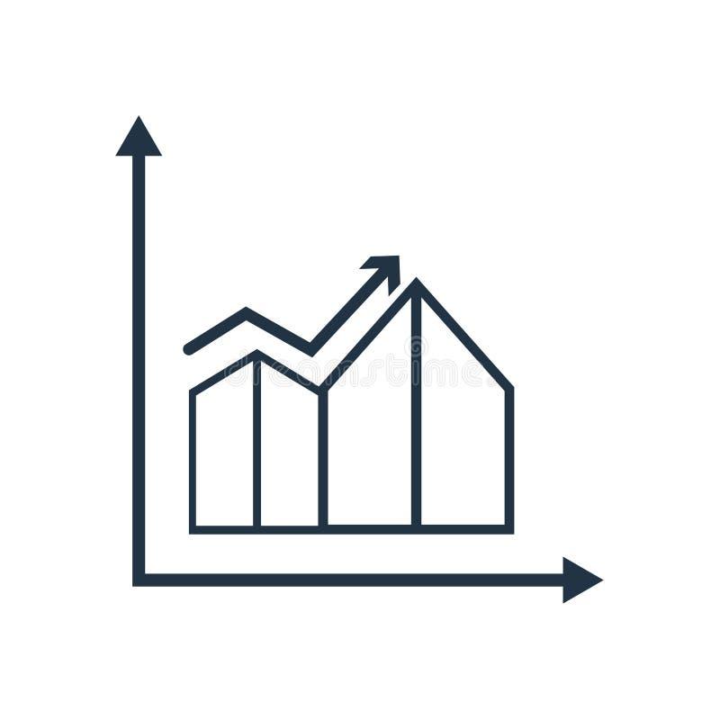Línea vector del icono del gráfico aislado en el fondo blanco, línea muestra del gráfico stock de ilustración
