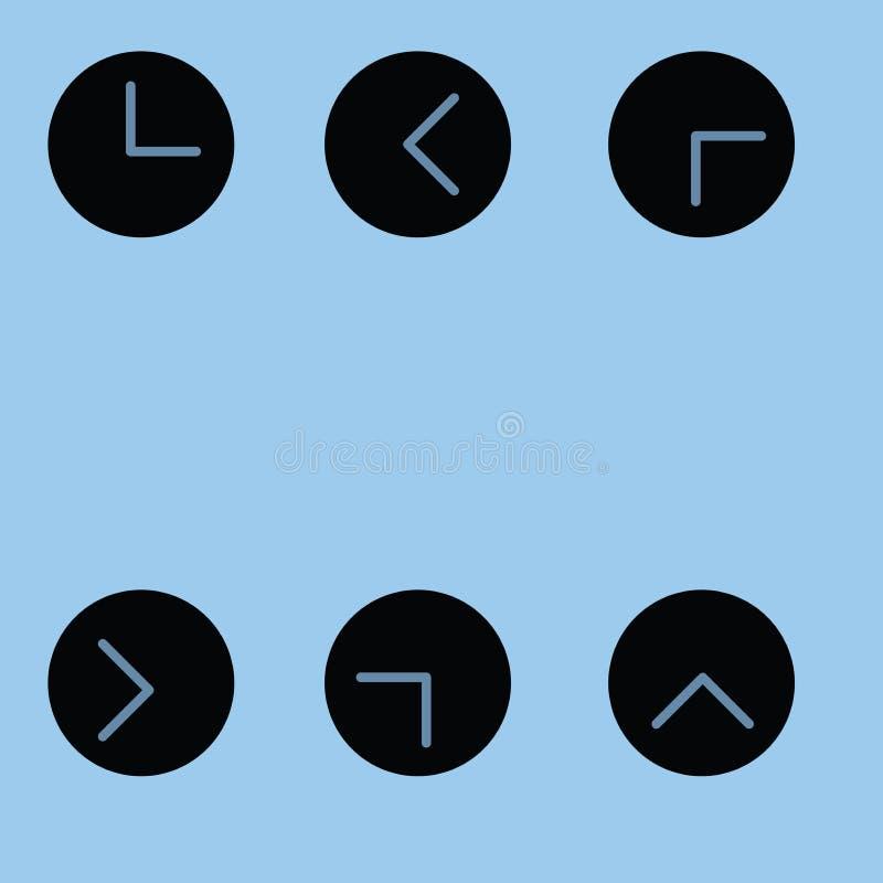 Línea vector del reloj del shilouete del arte ilustración del vector