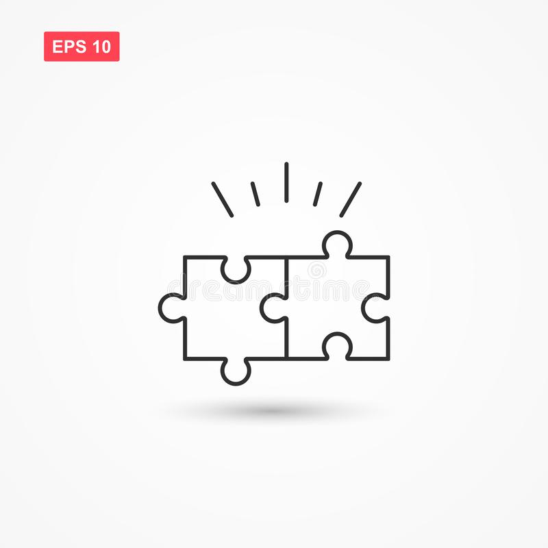 Línea vector 1 del rompecabezas del icono stock de ilustración
