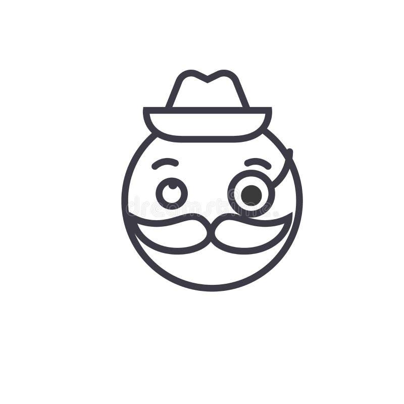 Línea vector editable, icono del concepto de Emoji de los caballeros del concepto Ejemplo linear de la emoción del concepto de Em ilustración del vector