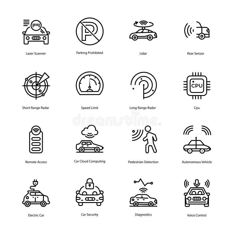 Línea vectores de la protección del coche stock de ilustración
