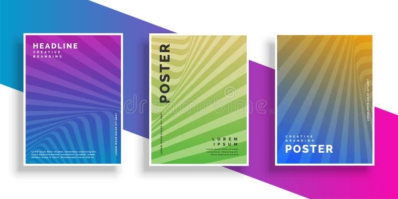 Línea vibrante abstracta sistema del diseño del folleto del aviador de los rayos libre illustration