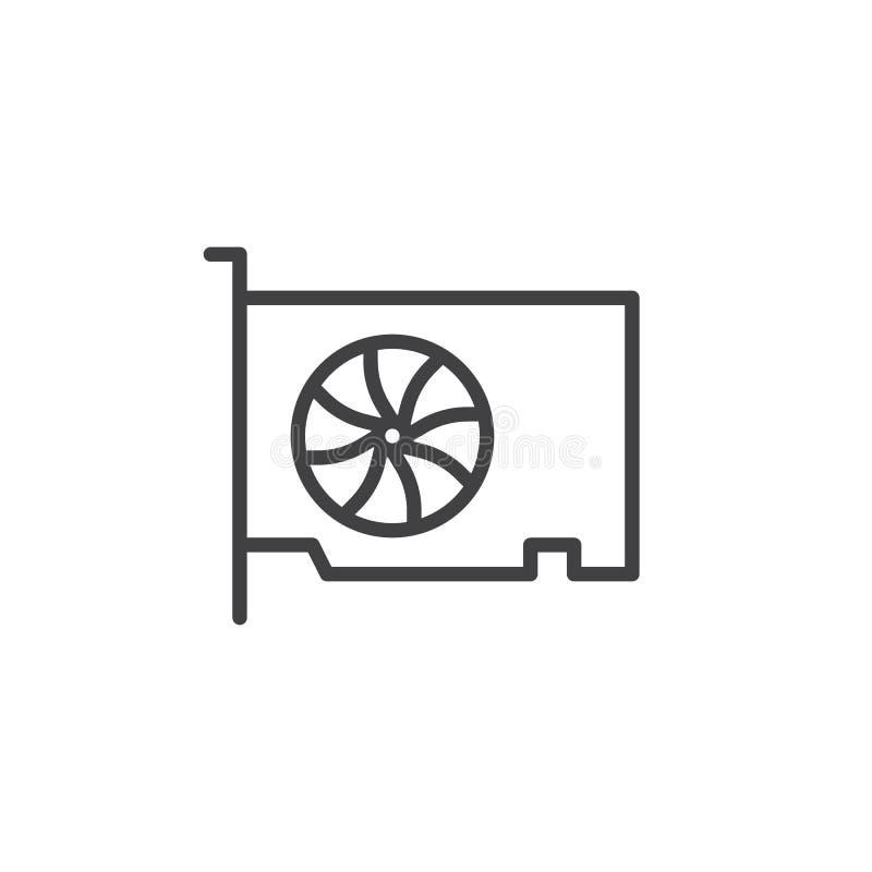Línea video icono de la tarjeta del gpu stock de ilustración