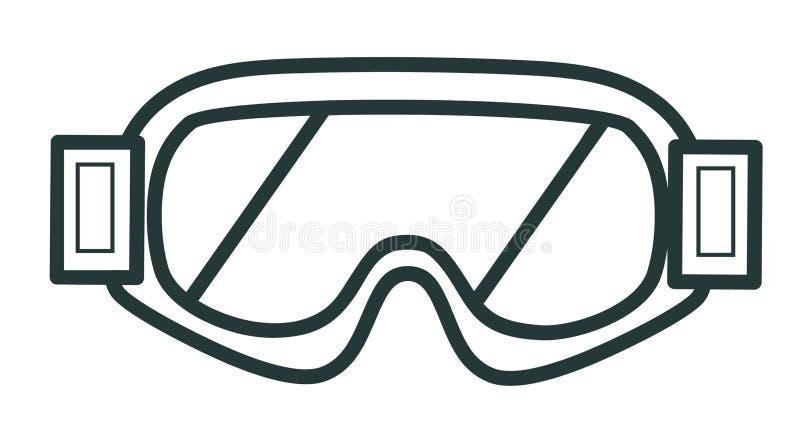 Línea vidrios del invierno del icono para la snowboard Equipo de deportes ilustración del vector