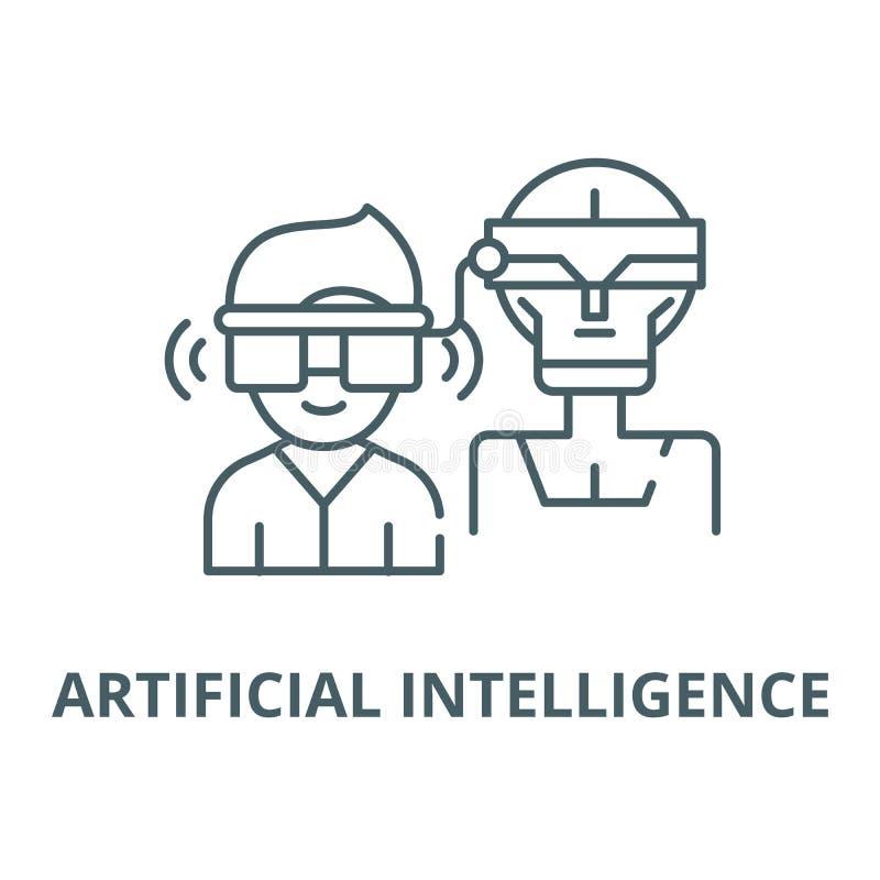 Línea virtual icono, concepto linear, muestra del esquema, símbolo del vector de la inteligencia artificial stock de ilustración