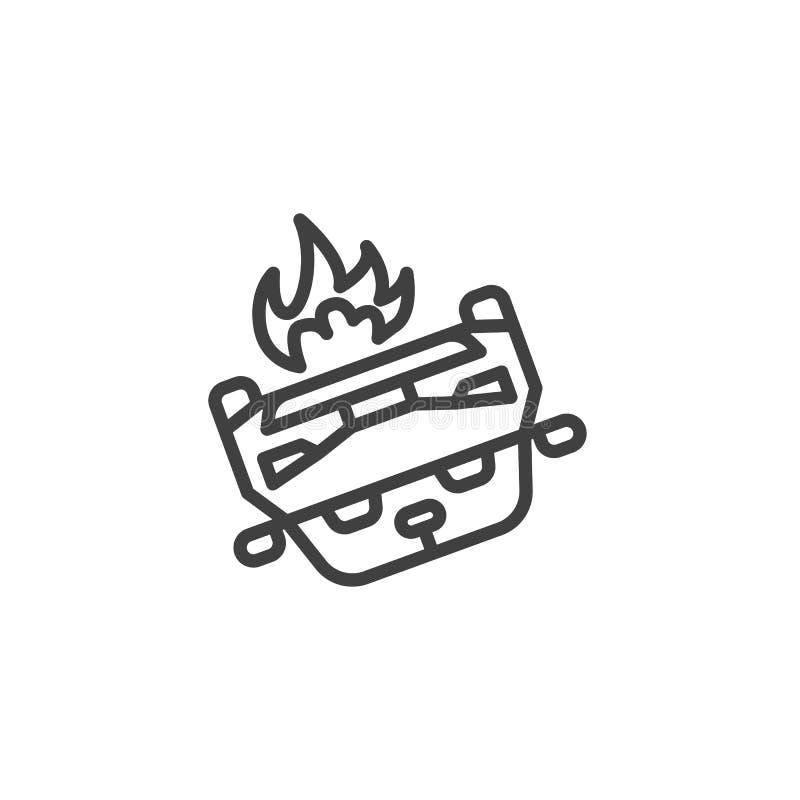 Línea volcada icono del coche ilustración del vector