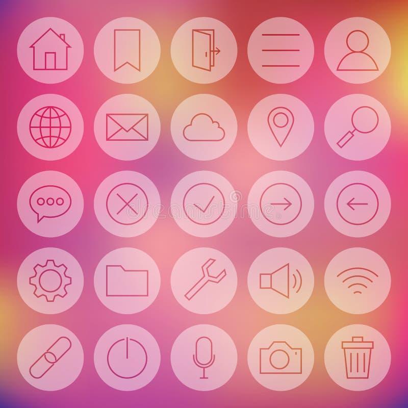 Línea web universal del círculo e iconos móviles de la interfaz de usuario fijados ilustración del vector