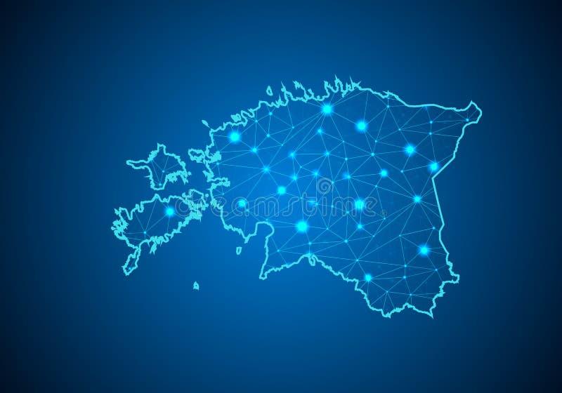 Línea y escalas de puntos abstractas del puré en fondo oscuro con el mapa de Estonia libre illustration
