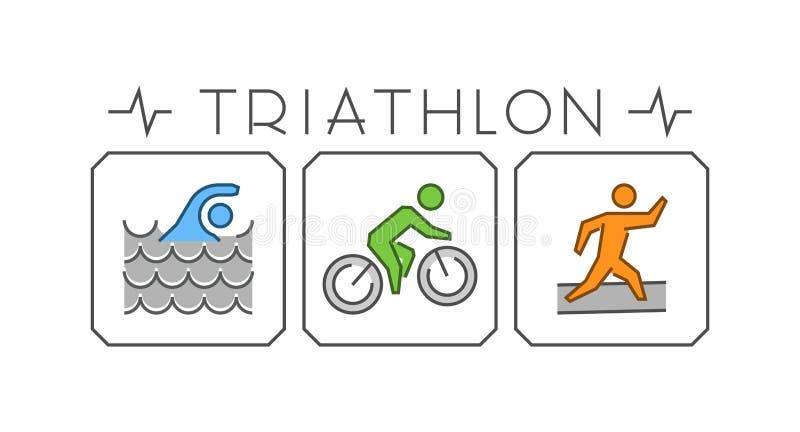 Línea y logotipo plano del triathlon Icono nadando, del ciclo y del funcionamiento stock de ilustración