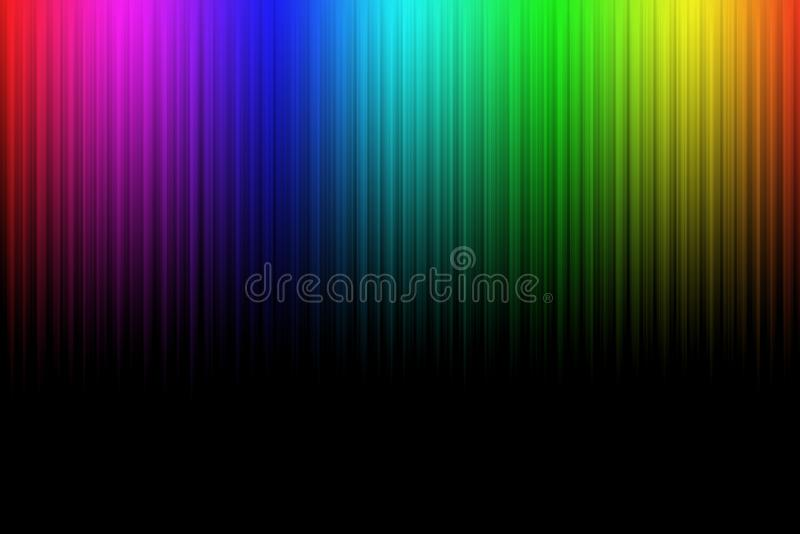 Líneas abstractas de neón coloridas en fondo negro libre illustration