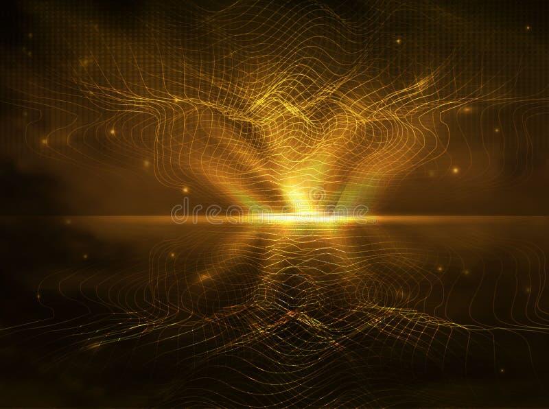 Líneas abstractas del oro, tecnología futurista, transferencia de datos en estilo realista fondo futurista de líneas bajo la form ilustración del vector