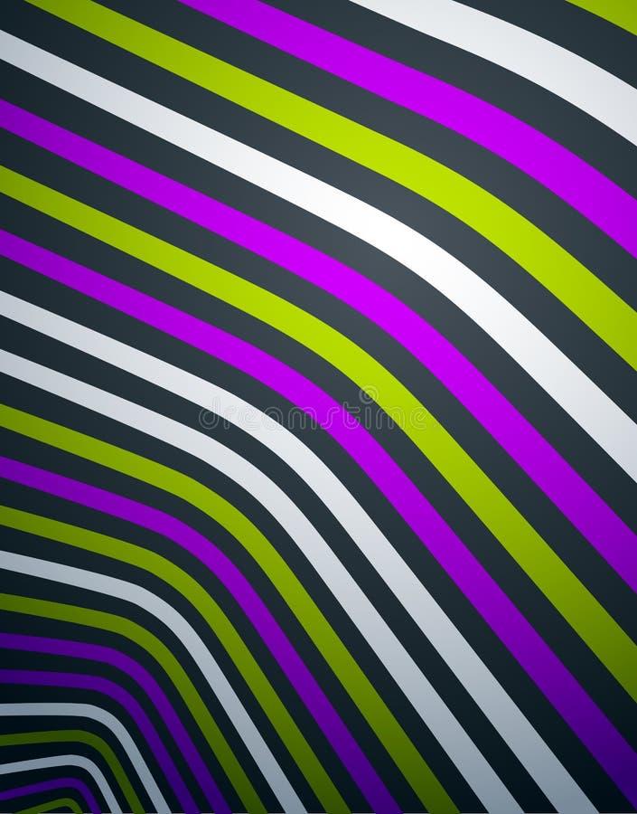 Líneas abstractas en el fondo dimensional del vector del extracto de la perspectiva 3D, disposición de diseño enrrollada fresca stock de ilustración