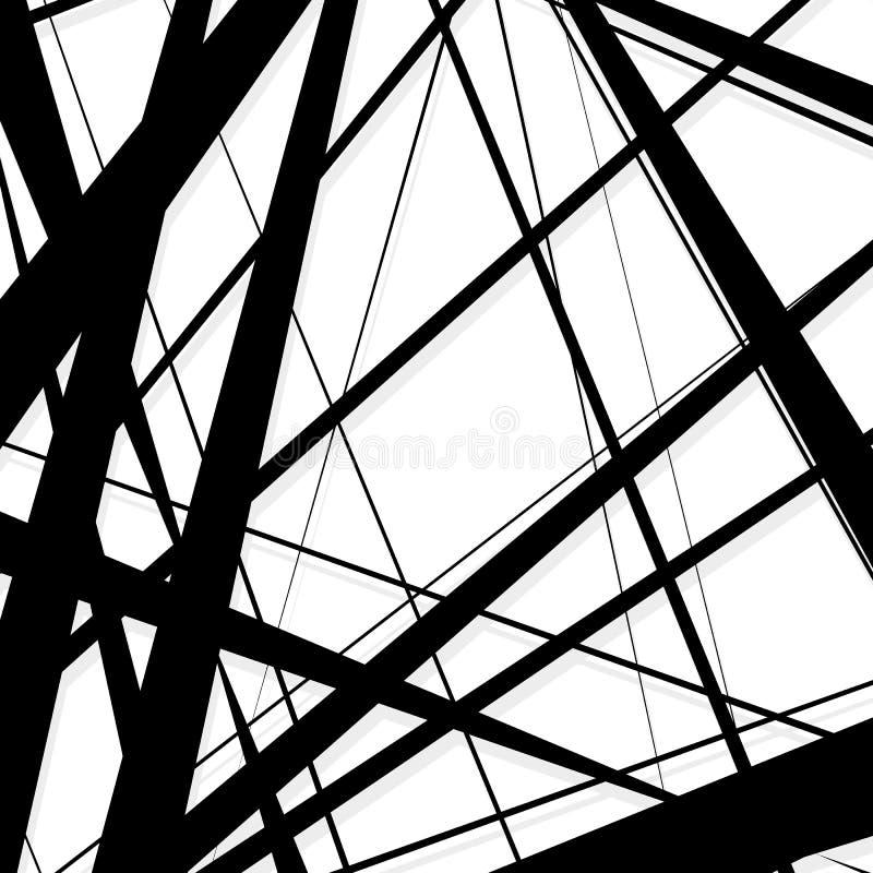Líneas abstractas, irregulares modelo, fondo Geomet monocromático stock de ilustración