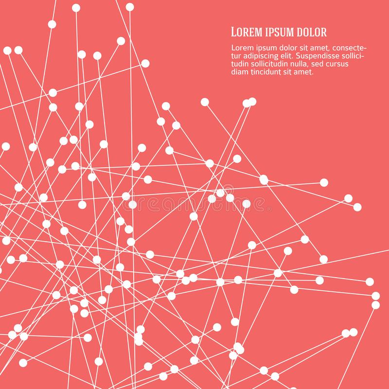 Líneas abstractas y puntos rosados del fondo planos stock de ilustración
