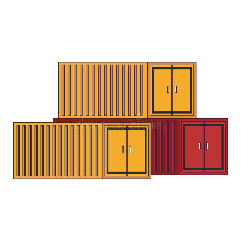 Líneas azules aisladas envases del paisaje del carguero del cargo ilustración del vector