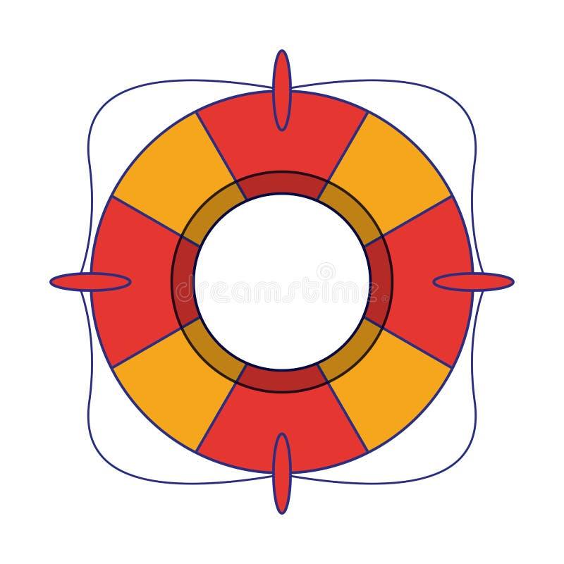 Líneas azules aisladas símbolo del flotador de la salvación stock de ilustración