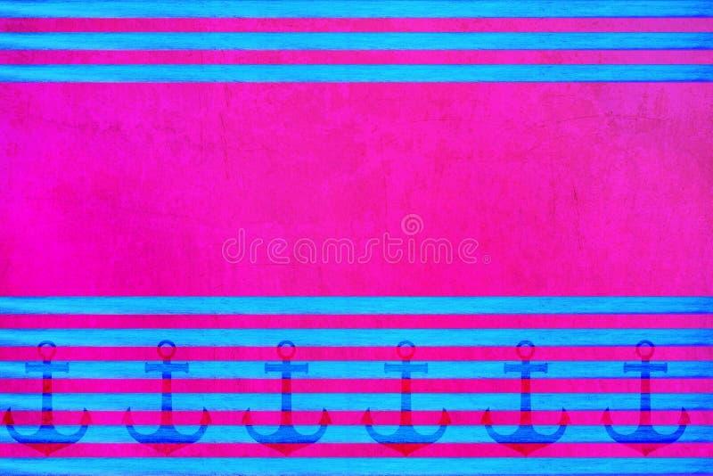 Líneas azules brillantes horizontales en un fondo rosado stock de ilustración