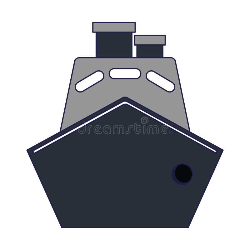 Líneas azules del barco de la nave del carguero stock de ilustración