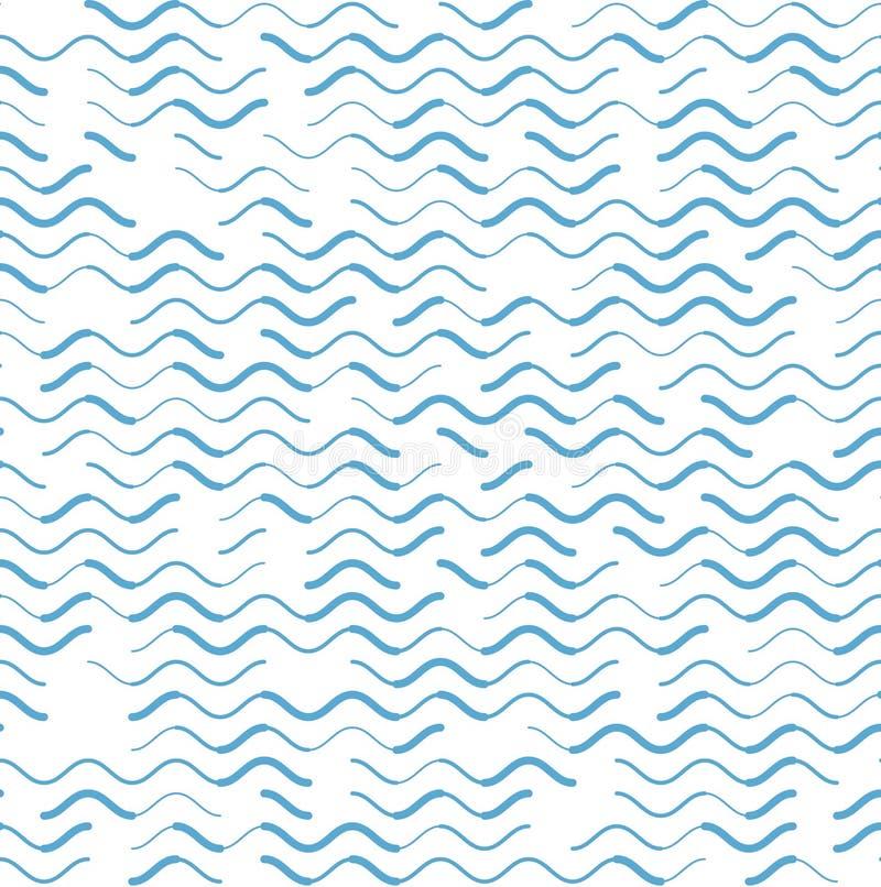 Líneas azules modelo inconsútil de la onda de los diversos movimientos ilustración del vector