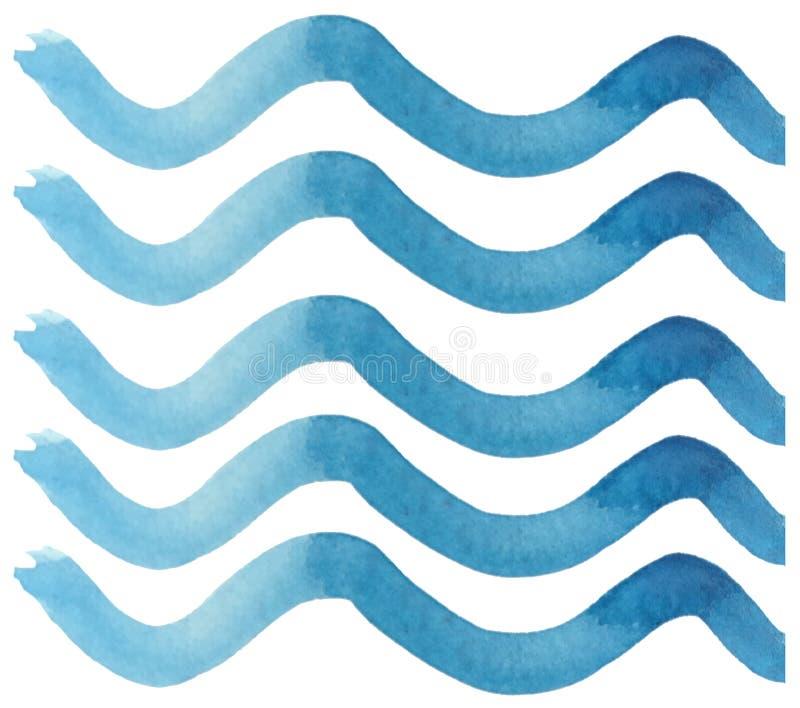 Líneas azules onduladas del extracto en un fondo blanco ejemplo de la acuarela para las impresiones, las postales y los papeles p stock de ilustración
