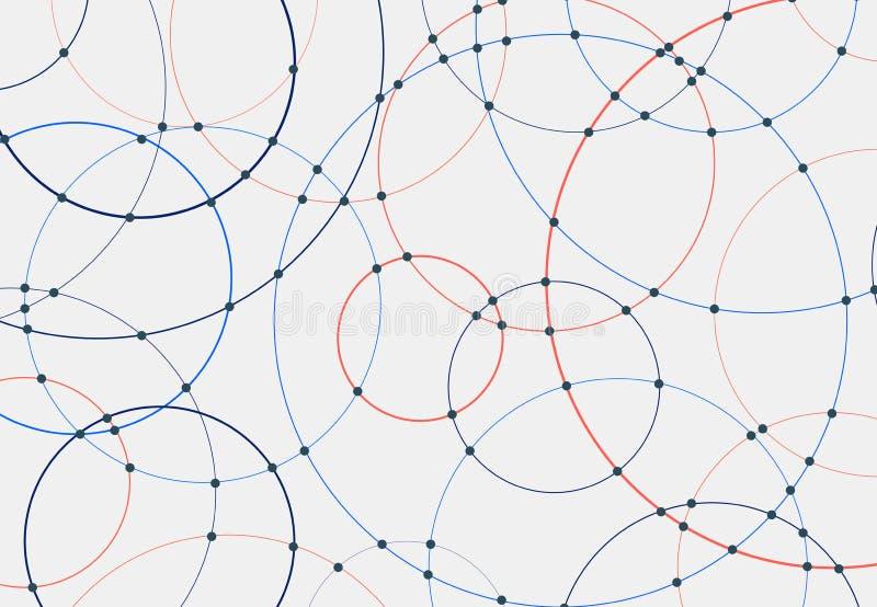 Líneas azules y rojas abstractas de los círculos alrededor del fondo blanco cubierto y del concepto de conexión de la tecnología  ilustración del vector