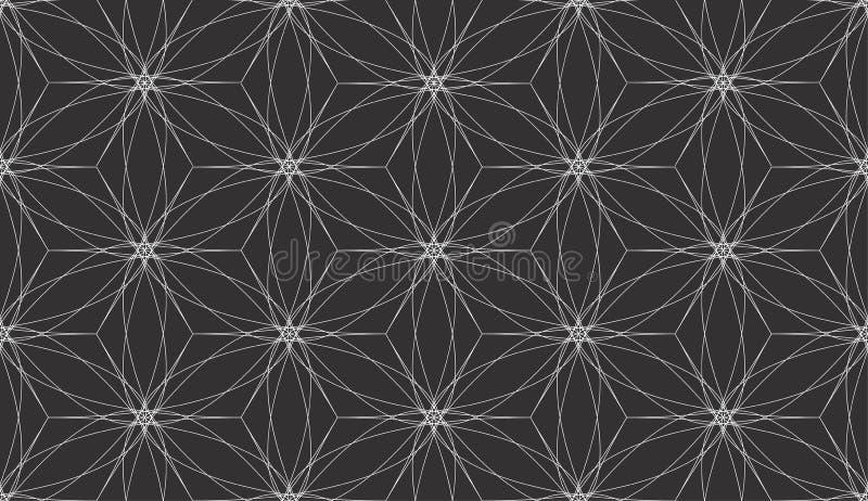 Líneas blancas abstractas vector inconsútil geométrico del modelo del fondo negro ilustración del vector