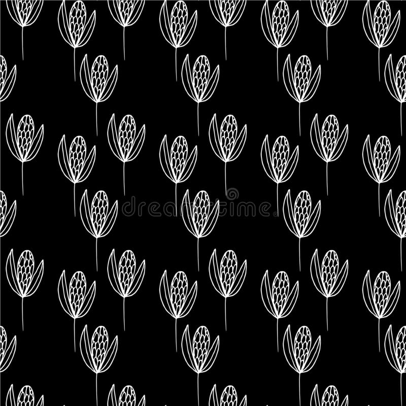 Líneas blancas grandes de las semillas del modelo en un fondo negro stock de ilustración