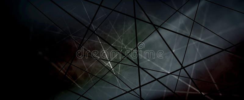 Líneas blancos y negros abstractas en los criss cruzados o diseño neto del modelo en fondo del techno stock de ilustración