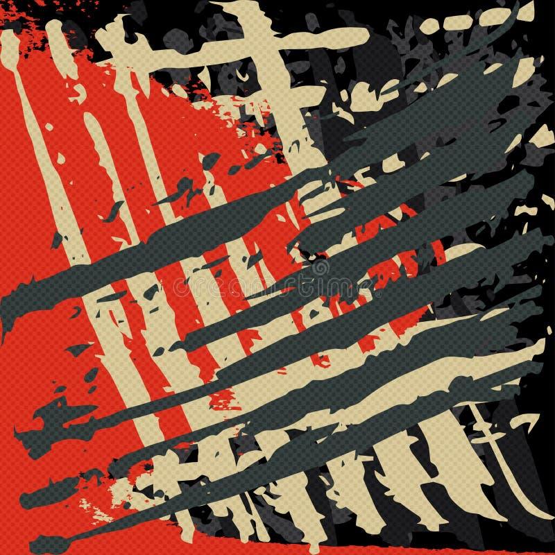 Líneas brillantemente coloreadas pintada en un ejemplo negro del vector del fondo ilustración del vector