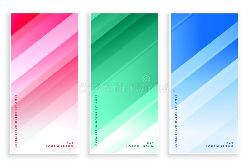 Líneas brillantes sistema de los colores elegantes de las banderas del negocio stock de ilustración
