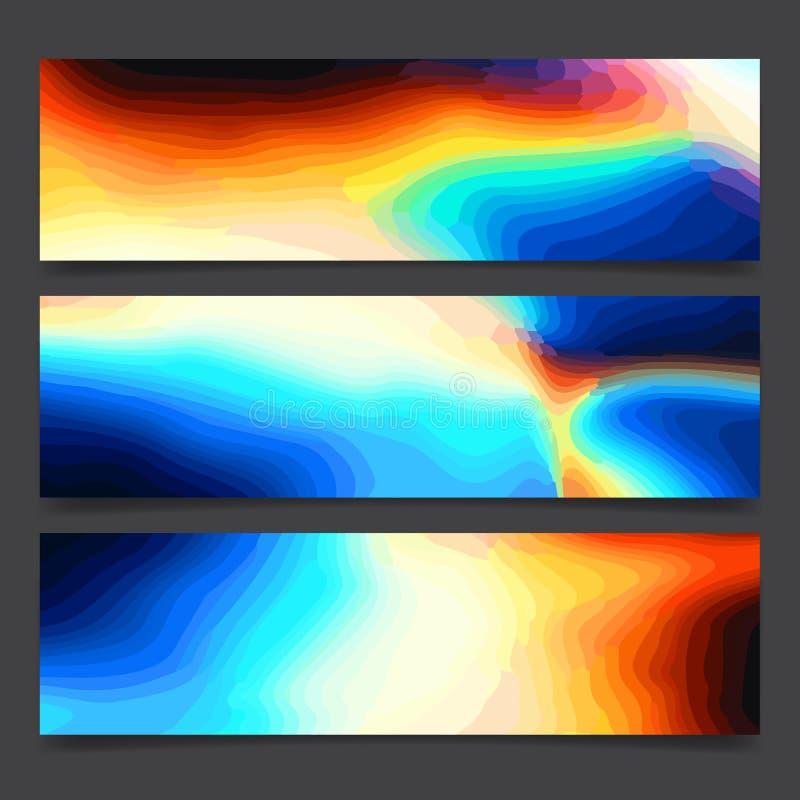 Líneas brillantes y puntos multicolores, cartel festivo del arco iris del arte de neón colorido abstracto de la pintura de los co stock de ilustración
