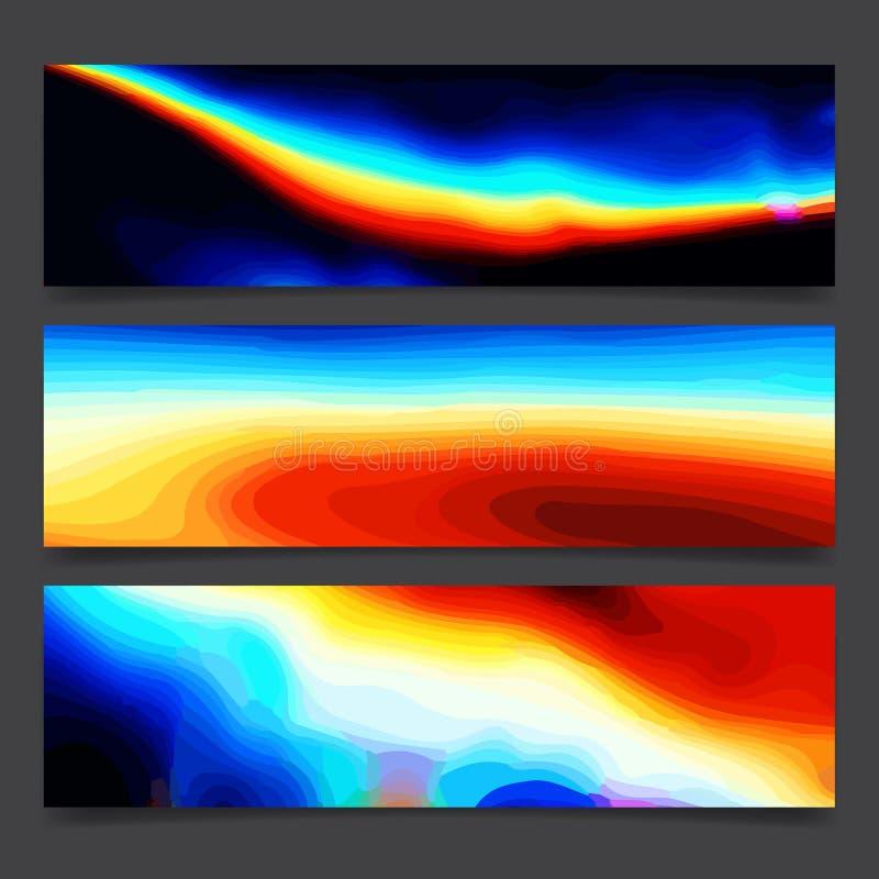 Líneas brillantes y puntos multicolores, disposición viva del arte de neón colorido abstracto del arco iris del cartel de los col libre illustration