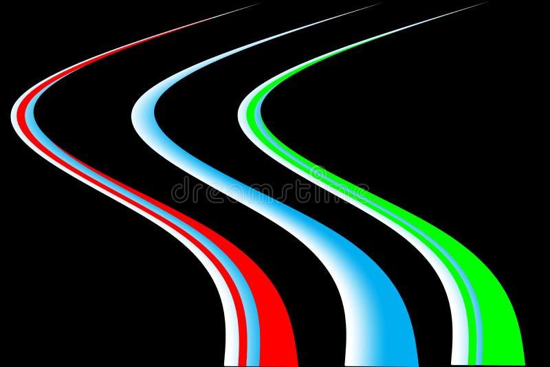 Líneas coloreadas del extracto Movimiento de la velocidad en la noche ilustración del vector