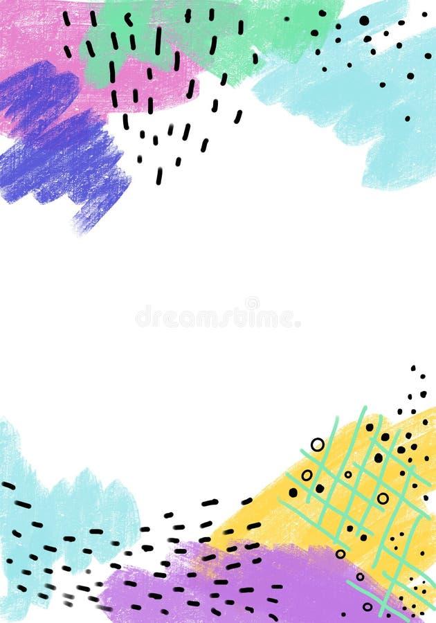Líneas coloridas abstractas fondo de la textura, estilo de la brocha y del garabato de Memphis Collage creativo del garabato ilustración del vector