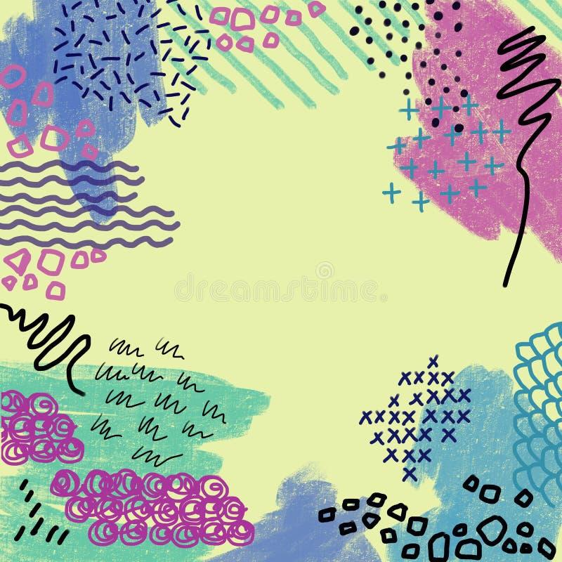 Líneas coloridas abstractas fondo de la textura, estilo de la brocha y del garabato de Memphis Collage creativo del garabato stock de ilustración