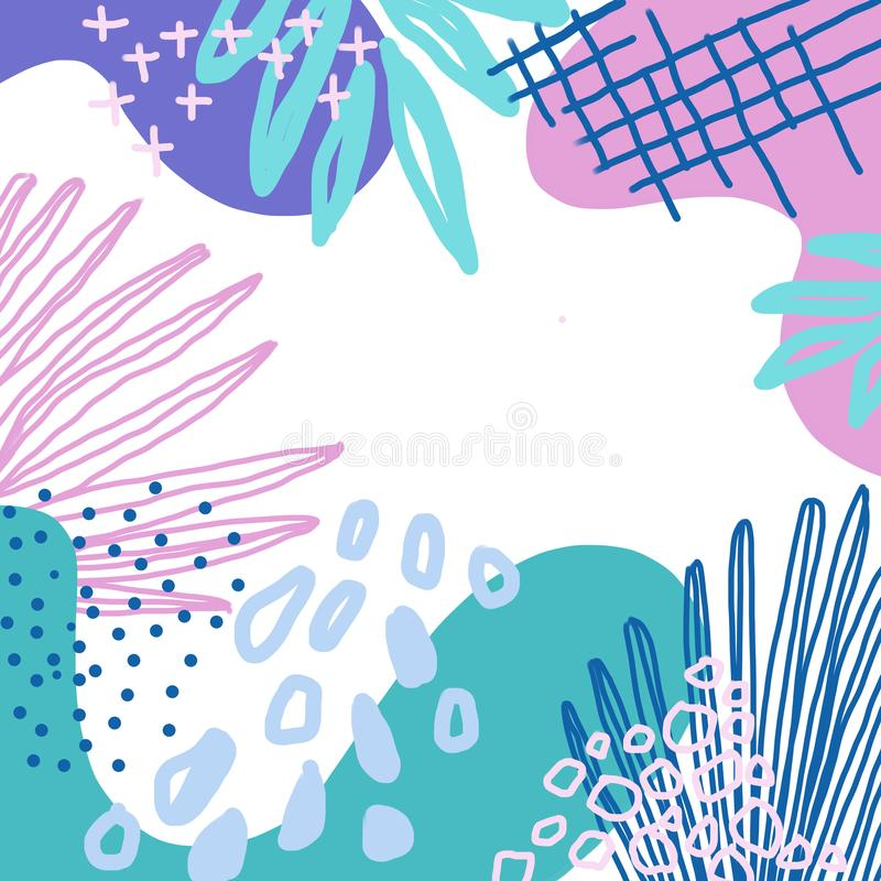 Líneas coloridas abstractas fondo de la textura, estilo de la brocha y del garabato de Memphis libre illustration