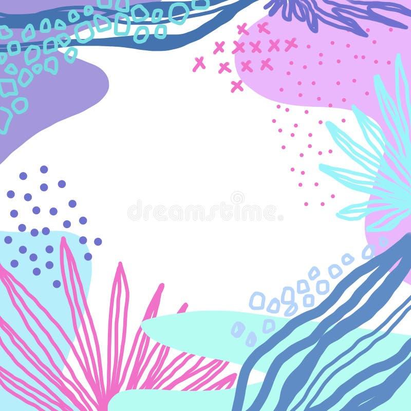 Líneas coloridas abstractas fondo de la textura, estilo de Memphis, naturaleza de la brocha y del garabato Collage creativo del g ilustración del vector