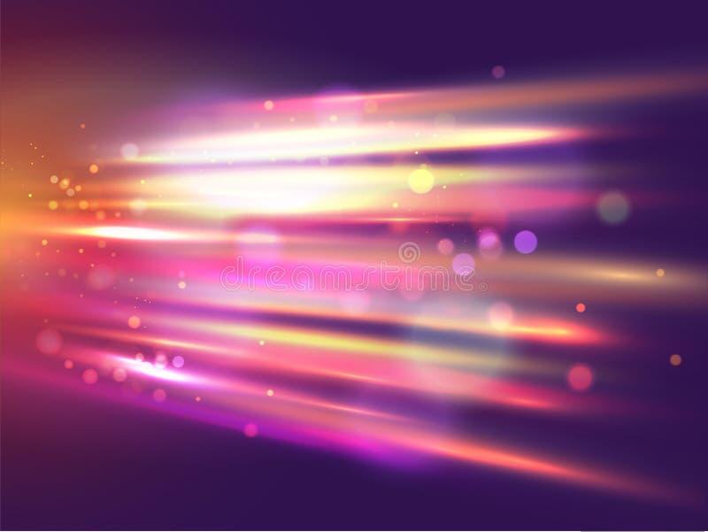 Líneas coloridas brillantes de la velocidad en fondo abstracto del movimiento del bokeh ilustración del vector