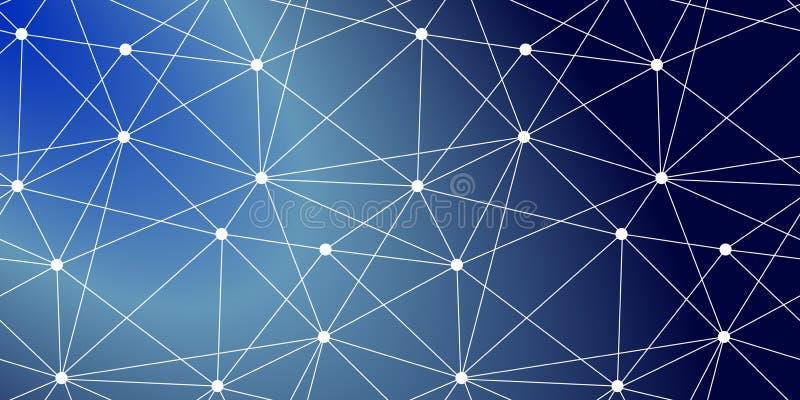 Líneas conectadas globales y fondo inconsútil de los puntos Estructura molecular stock de ilustración