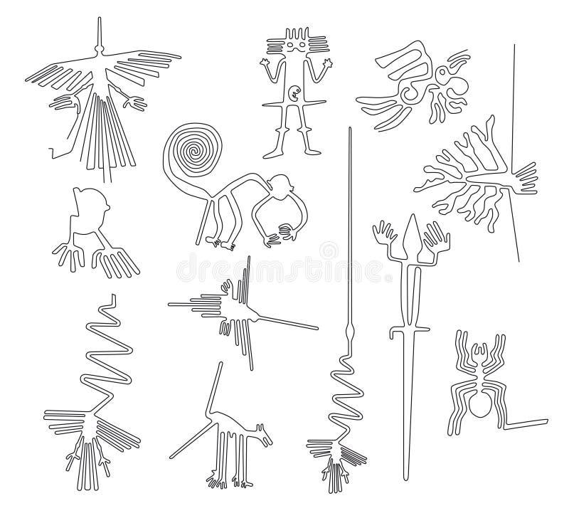 Líneas criaturas de Nazca del desierto de Nazca en Perú stock de ilustración