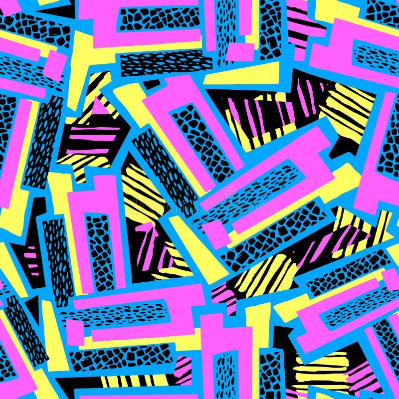 Líneas curvadas geométricas arte inconsútil i expresivo de la mano de la pintada ilustración del vector